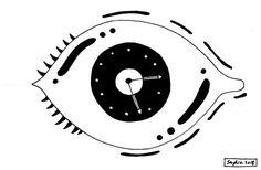 Eye time on Behance Art Direction, Art Drawings, Behance, Clock, Symbols, Letters, Illustrations, Ink, Eyes