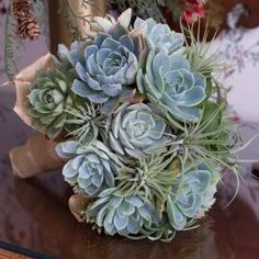 Wedding Flower unnamed - This bouquet is created with succulents accented with kalonchoe blooms swathed in babies breath, and ti purple or green leaves for collar. Diy Wedding Bouquet, Diy Bouquet, Wedding Favors, Wedding Flowers, Wedding Ideas, Wedding Decorations, Succulent Centerpieces, Succulent Bouquet, 12 Roses