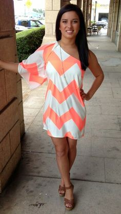 Chevron Coral One Sleeve Dress,
