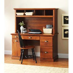 "Better Homes and Gardens Computer Workstation Desk and Hutch oak for 179  Desk Dimensions: 53.5"" W x 23.5"" D x 30.25"" H (136 cm x 59 cm x 77 cm)"