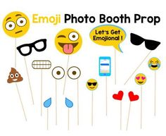 Use these cute Emoji Photo Props so your guests can have fun taking pictures at your party. You may print as many as you need, just add a wooden stick.  This PDF file includes: 2 Eyes 2 Tear Drops 2 Hearts 1 Lets Get Emotional Sign 1 Sunglass 1 Eyeglass  1 Poop Emoji 1 Cellphone 2 Large Emoji Faces 3 Small Emoji Faces Instruction Sheet (Wooden Sticks are not included)  ==========================================================   Usa estos graciosos accesorios de Emoji para que tus invitados…