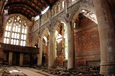 Light shines through the sanctuary of the abandoned Gary Methodist Church in Gary, Indiana on Oct. 1, 2011.