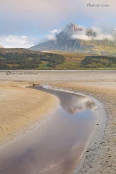 Ben Loyal. Kyle of Tongue Mud Flats. Summer evening. Sutherland. Scotland.