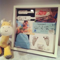 Those first moments when you get to see and hold your baby for the very first time are so precious. Record those special moments with a baby shadow box! The Babys, Shower Bebe, Baby Shower, Bridal Shower, Foto Baby, Decoration Design, Everything Baby, Baby Time, Baby Crafts