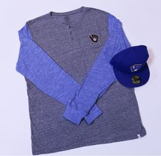 Get this look at the #Brewers Team Store: Men's Long Sleeve- $65.00 Navy Ball and Glove Hat- $42.00