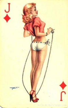 """""""Darling"""" playing card issued in the with artwork by Heinz Villiger Pin Up Illustration, Illustrations, Pin Up Girl Vintage, Vintage Pins, Vintage Paper, Pin Up Drawings, Earl Moran, Comic Art Girls, Vintage Playing Cards"""