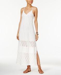 Roxy Juniors' Ur Mine Crochet-Trim Maxi Dress - Tan/Beige XL