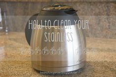 How To Clean a Stainless Coffee Pot - Without Scrubbing! - simply organized - - If your stainless coffee pot is full of dark coffee markings this is THE BEST and EASIEST way to get it sparkling clean without any scrubbing! Deep Cleaning Tips, Natural Cleaning Products, Cleaning Solutions, Cleaning Hacks, Green Cleaning, Carafe, Coffee Pot Cleaning, Dishwasher Pods, Dishwasher Detergent