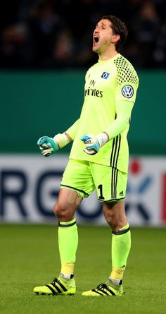 Rene Adler, goalkeeper of Hamburg reacts during the DFB Cup round of 16 match between  Hamburger SV and 1. FC Koeln at Volksparkstadion on February 7, 2017 in Hamburg, Germany.