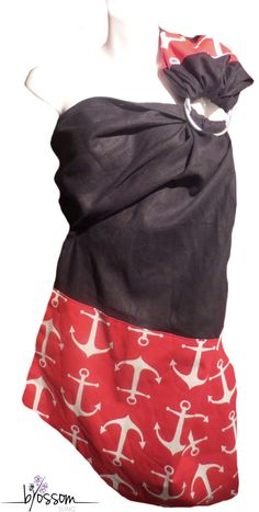 Ring sling Blossom. Fait au Québec à la main. ✄Tissu noir : 55% lin 45% viscose ✄Tissu ancres : 100% coton  Sling en lin noir avec pointe et épaule