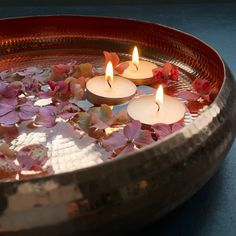 A beautiful, fair trade, copper meditation bowl handcrafted by Tambat coppersmiths in Pune, India. A must for all you yogis out there. Diwali Decorations At Home, Home Wedding Decorations, Festival Decorations, Flower Decorations, Floating Flowers, Floating Candles, Candle Centerpieces, Candle Lanterns, Meditation Bowl