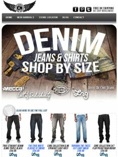 Style Alert - Shop Fresh New Denims This Spring - Shop by Size - Baggy fit + loose fit + slim fit in store now   http://www.everythinghiphop.com/Jeans-Trousers/