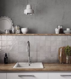 Gray Kitchen Backsplash, Ceramic Tile Backsplash, Kitchen Counter Tile, Gray Kitchen Walls, Cement Tiles, Backsplash Ideas, Kitchen With Subway Tile, Grey Kitchen Wall Tiles, Colors For Kitchen Walls