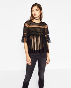 ZARA - TRF - FRILLY TULLE TOP