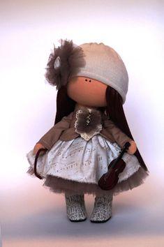 Muñeca de trapo tela color marrón hecho a por AnnKirillartPlace