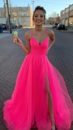 Stunning Prom Dresses, Pretty Prom Dresses, Pink Prom Dresses, Tulle Prom Dress, Cute Dresses, Evening Dresses, Bridesmaid Dresses, Neon Homecoming Dresses, Orange Formal Dresses