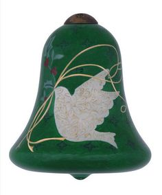 Dove Ne'Qwa Christmas Ornament Bell Joy Peace Love Susan Winget Reverse Painted  #NeQwaArt
