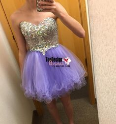 Lavender Organza Homecoming Dress With Crystal Beaded Bodice 2017 New Arrival Prom Dress