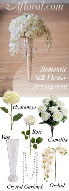 Make your romantic wedding centerpieces with silk flowers from Afloral.com.  Find tall vases, crystal garlands and high-quality faux flowers at affordable prices.