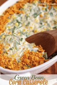 Green Bean Corn Casserole ~ Easy and Delicious Side Dish Loaded with Corn, Green Beans, and Cheese! on MyRecipeMagic.com