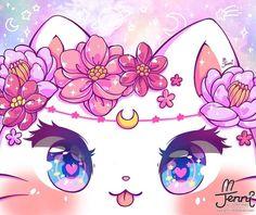 Chat Kawaii, Kawaii Chibi, Kawaii Cat, Kawaii Anime, Cute Kawaii Animals, Cute Animal Drawings Kawaii, Cute Drawings, Cute Cat Drawing, Unicorn Drawing