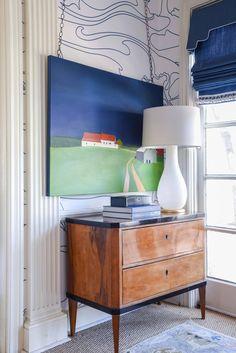 original art by jean jack | antique Biedermeier chest | white glass lamp | blue print | blueprintstore.com