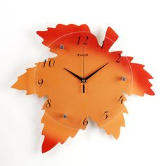 Orange red maple leaf wall clock.Fashion for home living room decoration. There are many other styles in our company. If you like it pls contact us by e-mail: CJQ057989911607@outlook.com