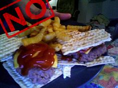 This is soooo wrong! Passover Cheeseburger ! Some more @ http://www.buzzfeed.com/emilyorley/11-major-passover-food-fails
