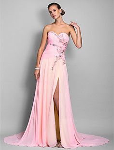 Sheath Column Sweetheart Floor-length Chiffon Evening Dress ... – USD   ad6d24b96e42