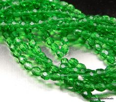 3mm Czech Glass Beads - Firepolished Faceted Emerald