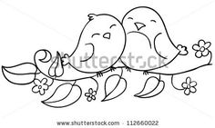 Love Birds Sitting On Flowering Branch Stock-Vektorgrafik (Lizenzfrei) 112660022 love birds sitting on the flowering branch, coloring, contour Love Birds Drawing, Bird Drawings, Love Drawings, Drawing For Kids, Easy Drawings, Drawing Ideas, Doodle Coloring, Colouring Pages, Embroidery Patterns