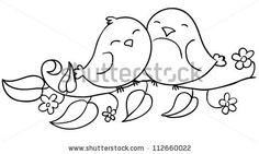 love birds sitting on the flowering branch, coloring, contour by kvitka, via Shutterstock