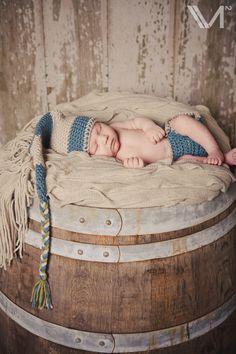 Newborn on a real wooden wine barrel. :)