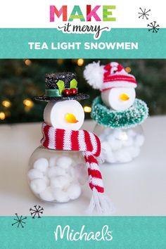 Make your holidays bright with this adorable Tea Light Snowmen project. Learn how to make this and more at michaels.com.