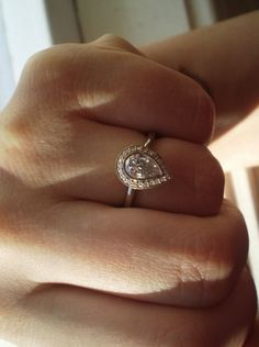 Real Ritani Engagement Rings - Pear Shaped Halo Micropavé Diamond Ring in 14k white gold