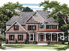 Eplans New American House Plan - Two-Story Family Room - 2833 Square Feet and 5 Bedrooms(s) from Eplans - House Plan Code HWEPL08122