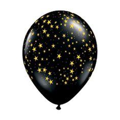 "11"" Latex Balloon, Gold Stars on Black"