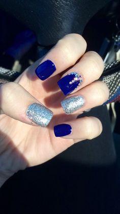 52 Ideas for nails dark blue silver nailart Nail Art Designs, Cute Acrylic Nail Designs, Cute Acrylic Nails, Blue And Silver Nails, Dark Blue Nails, Black Nail, Black Glitter, Shellac Gel, Gel Nails