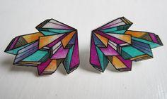 "Shrink plastic ""colorsplash"" earrings."