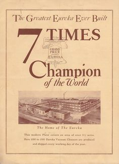 Eureka Vacuum Cleaner 7 Times Champion of the World 1926 Vintage Brochure