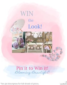 Pin it to Win the Look! Prizes include: 1 x Paper Parasol With Vintage Floral Print, 1 x Round Paper Lantern With Vintage Floral Print (Size: Medium), 1 x 3D Floral Print Paper Garland, 1 x Packet of Vintage Floral Paper Drinking Straws, (75 Straws per Packet), 1 x Large Rolled Fabric Lace Floral Flowers. See them all in Confetti.co.uk's Shop!