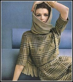 Dorothea McGowan in beige and gray misty plaid worn with fringed stole in fine worsted by David Crystal, photo by Leombruno-Bodi, 1961 | by skorver1