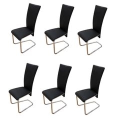 Set of 2 4 6 8 Leather Chrome Kitchen Dining Chairs Black Dining Room Furniture