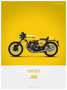Ducati 750 Sport moto illustration affiche, impression 18 x 24 pouces
