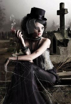 #Goth girl hanging out at the cemetery