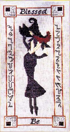 """""""Blessed Be"""" Cross Stitch Pattern - Forget the red hats and pink hats. This young lady belongs to the black hat society. She's framed by the words """"Blessed Be"""" and Theban runes (the alphabet). Design is 189 stitches high by 81 stitches wide."""