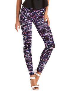 Colorful Zebra Stripe Legging: Charlotte Russe