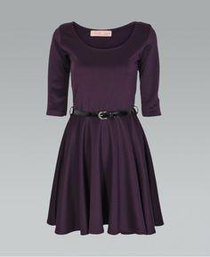KrispBASIC 3 4 Length Sleeve Belted Purple Skater Dress - KrispBASIC from  Krisp Clothing UK 9f673c8b2
