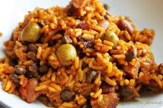 Puerto Rican Rice and Beans- I made this with green olives. It was a really good recipe and I'd definitely make it again. I've had authentic arroz and I can't quite get mine to taste as good but no recipe can produce that.