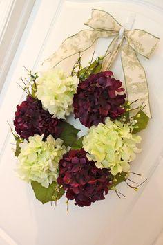summner door wreaths | Summer Wreath - Door Wreath - Purple and White Jewel Bead Hydrangea ...